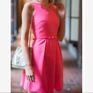 Ted Baker neon pink bow belted pleated dress